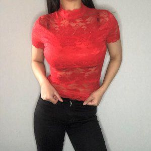 (NEW) GUESS orange/red short sleeve lace top